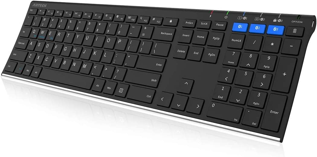 Arteck Universal Bluetooth Keyboard Multi-Device Stainless Steel Full Size Wireless Keyboard for Windows, iOS, Android, Computer Desktop Laptop Surface Tablet Smartphone Built in Rechargeable Battery