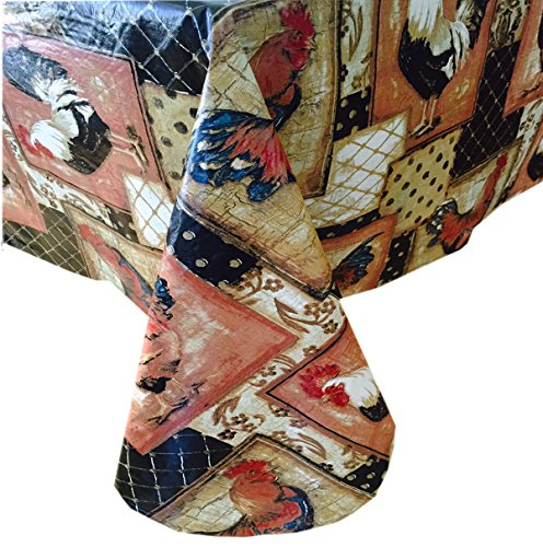 """Vintage Rooster Pattern Indoor/Outdoor Flannel Backed Vinyl Tablecloth - 60"""" x 84"""" Oblong"""
