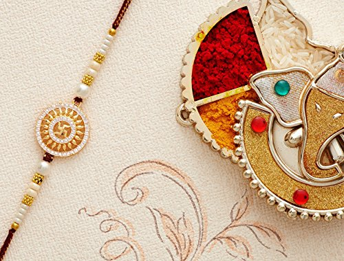 Designer Rakhi Thread for Brother Bhaiya Traditional Rakshabandhan Rakhee Bracelet (Design 14) by Eximious India Rakhi