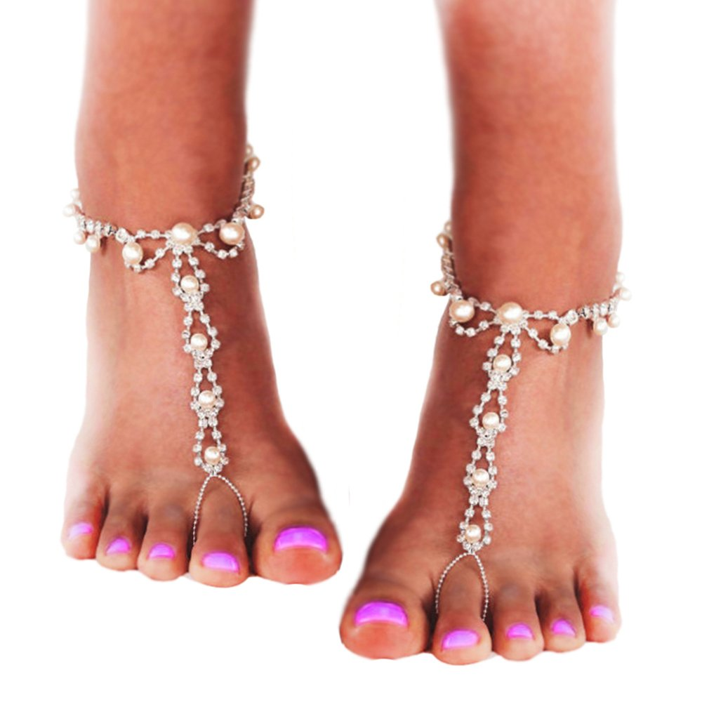 7788c156e Amazon.com  JEWSUN Barefoot sandals with rhinestones and beads. Beach  Wedding barefoot Sandals