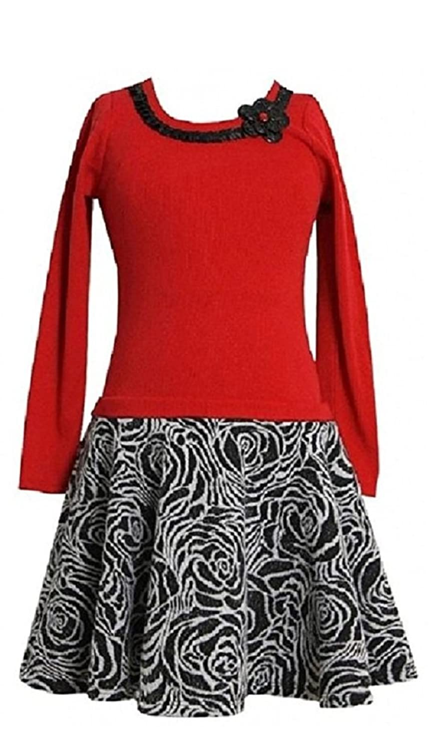 Bonnie Jean Girls Plus Size Red Rib Knit to Textured Floral ...