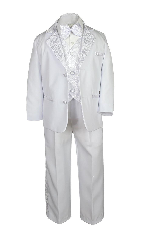 Formal Boy White Suit Paisley Notch Lapel Tuxedo Kid Teen Free Black Bow Tie 10
