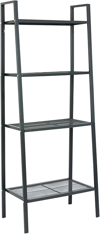 MATICO Storage Shelf 4 Tier Plant Shelf, Freestanding Open Bookcase Shelving, Ladder-Style Flower Rack Leaning Shelf