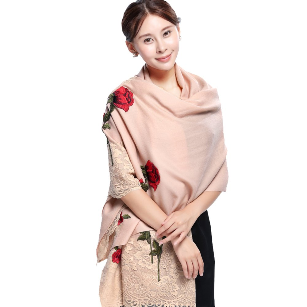 Autumn and winter roses embroidered scarf/ Lady lace bridal shawls/ dual-use super long scarf-A One Size