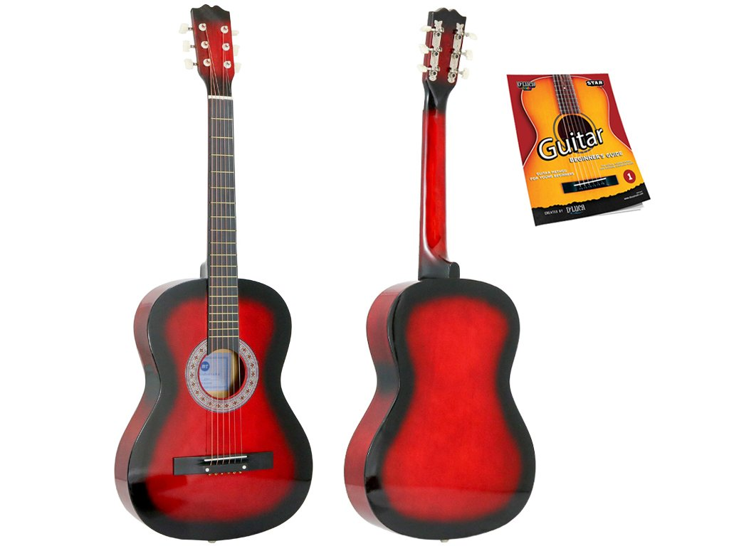 Star Acoustic Guitar 38 Inch with Beginner's Guide, Redburst