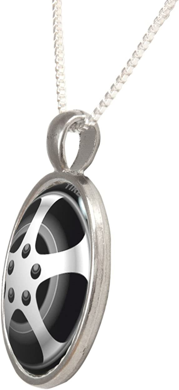 Arthwick Store Vector Illustration of a Simple Car Tire Pendant Necklace