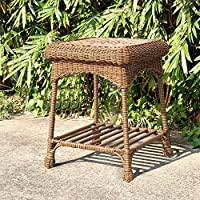 "21"" Honey Brown Hand Woven Resin Wicker Indoor/Outdoor Patio Garden End Table"