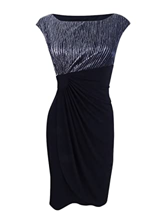 9c952309 Image Unavailable. Image not available for. Color: Connected Women's Petite  Metallic Faux-Wrap Dress (6P, Black/Silver)