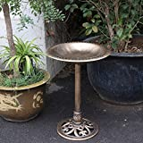 HomGarden Outdoor Pedestal Bird Bath Garden Decor Decorative Feeders (Antique Copper)