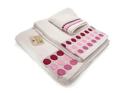 Confort Home M.T (Blanco Bolas) Juego de Toallas de baño 3 Piezas (1