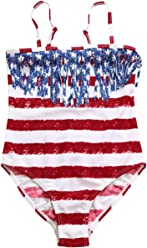 c1d5635c8bb PARICI Kid Girls One Piece Striped Star Swimsuit American Flag Swimwear Size  2-7