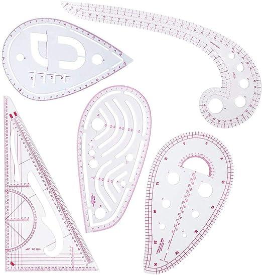 Juego de 5 reglas de costura,5 estilos para coser con forma de ...