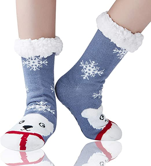 Warm fuzzy fleece short socks with gripper,Excellent gift choice in cold winter floor socks