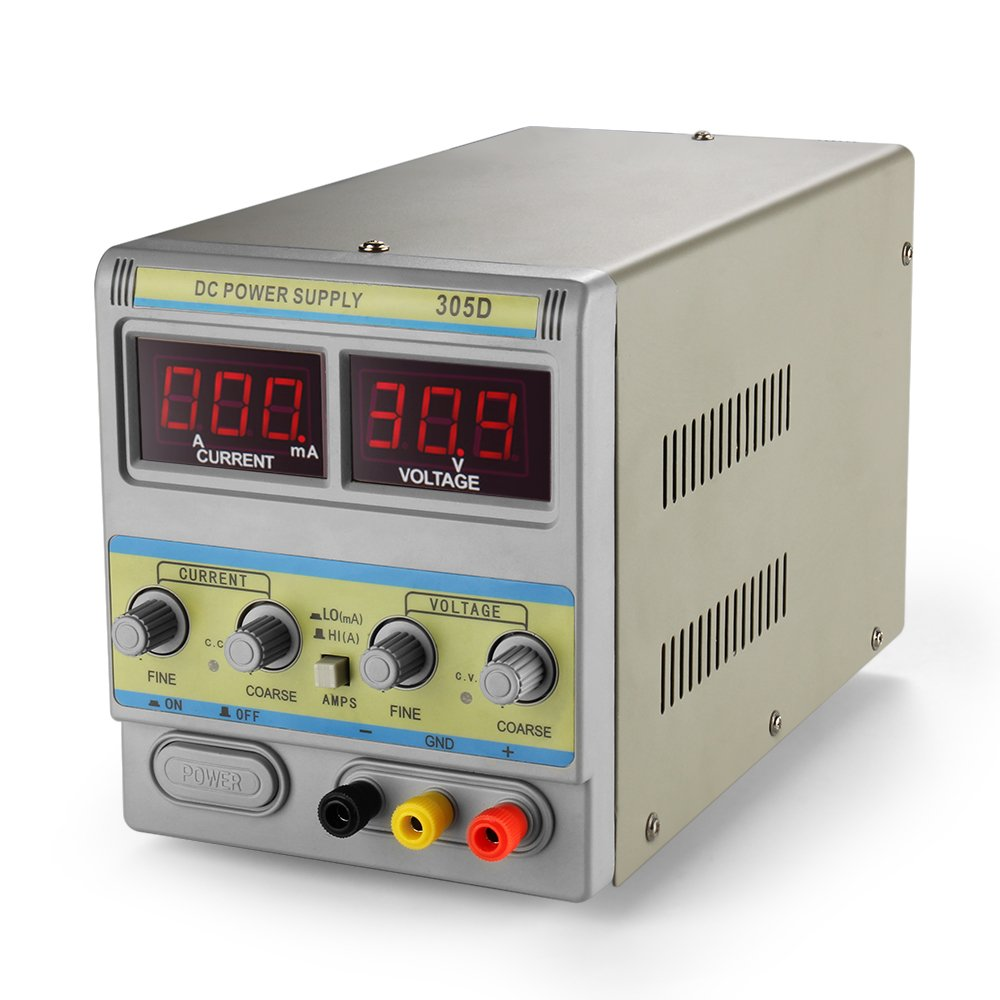 Flexzion DC Power Supply 30V 5A - Adjustable Variable 110V/220V Regulated Switching Circuit Precision Digital Display Liner Single-Output with Alligator Clip Connectors AC Cable Lab Grade Scientific by Flexzion