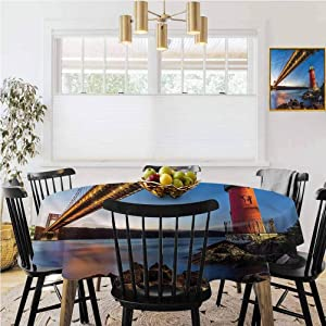 "Round Tablecloth,Rectangular Tablecloth,United States,Bridge Hudson River Kitchen Table Decoration,Diameter 67"""