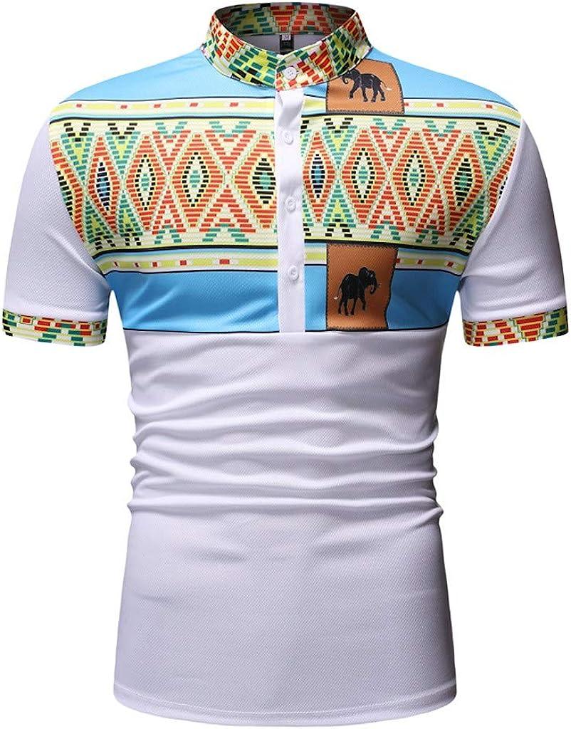 UJUNAOR Camicia Uomo Manica Corta di Cotone Slim Fit Stampa Africana Etnica Semplice Casual 2019 M//L//XL//XXL