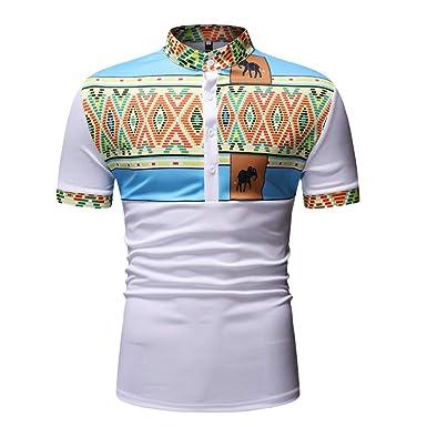 Paolian Hombre Manga Corta Polo Camisa Casual Vintage África ...