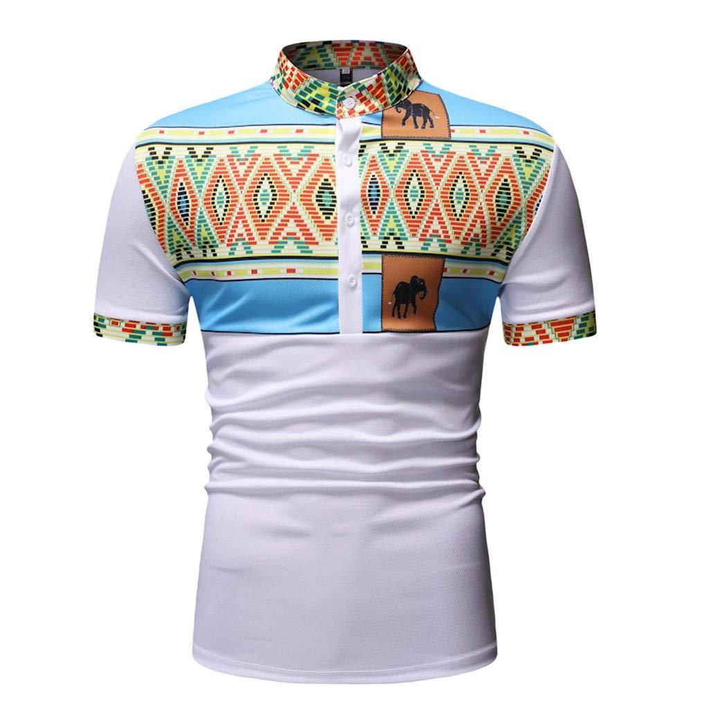Mens African Dashiki Print Shirt Short Sleeve Summer Button Shirt Casual Slim Fit Tops White