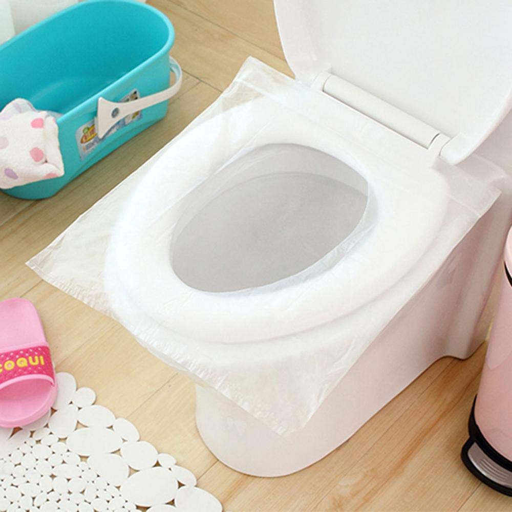 Disposable Toilet Seat Covers MOGOI 50 Pack Large Size Potty Seat Cover Waterproof Kids Potty Protectors for Camping Travel Bathroom Public Toilet Users