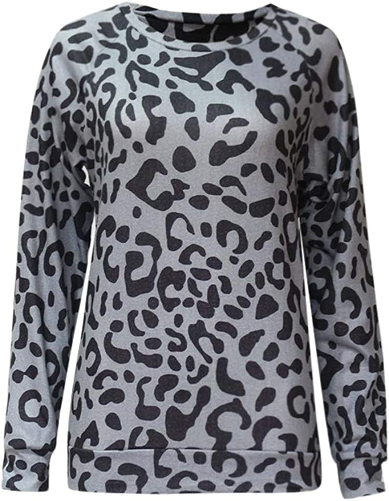 Meikosks Womens Leopard Print Sweatshirts Round Neck Long Sleeve Tops Casual Baggy Blouses T Shirt
