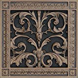 """Decorative Vent Cover, Grille, made of Urethane Resin in Louis XIV, French style fits over a 8"""" x 8"""", Total size, 10"""" by 10"""", for wall & ceiling installation only. (not for floors) (Dark Bronze)"""