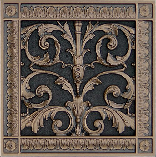 Decorative Vent Cover, Grille, made of Urethane Resin in Louis XIV, French style fits over a 8