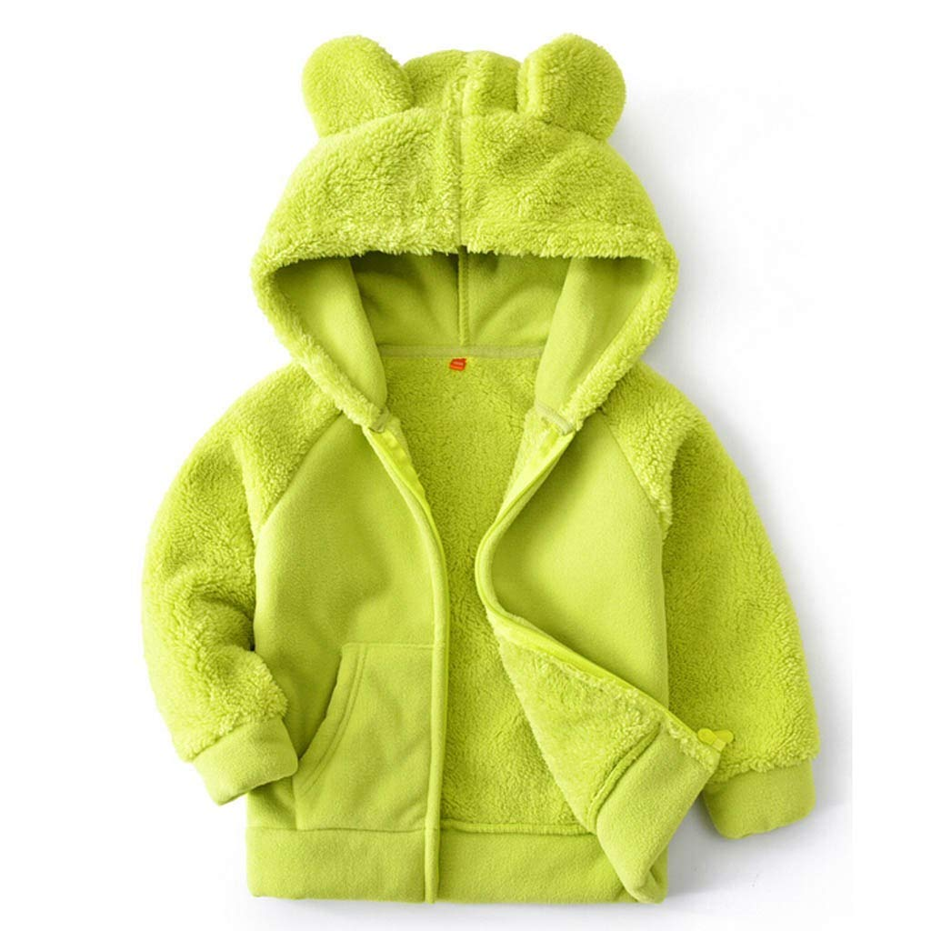 Lataw Kids Outerwear Girls Tops Winter Warm Faux Fur Hooded Plush Stitch Down Solid Color Coat Blouse Velvet Overcoat by Lataw