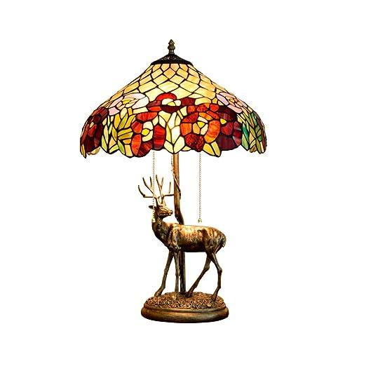 Jay Lámpara de Mesa Tiffany Rosa roja 16 Pulgadas lámparas de ...