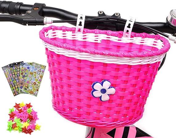 Rose red ANZOME Girls Bike Basket Front Handlebar Kids Bicycle Basket with Bike Bells Streamers for Kids Chirlden Gift DIY Sets
