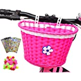ANZOME Girl's Bike Basket, Front Handlebar Kid's Bicycle Basket with Bike Bells Streamers for Kids Chirlden Gift DIY…