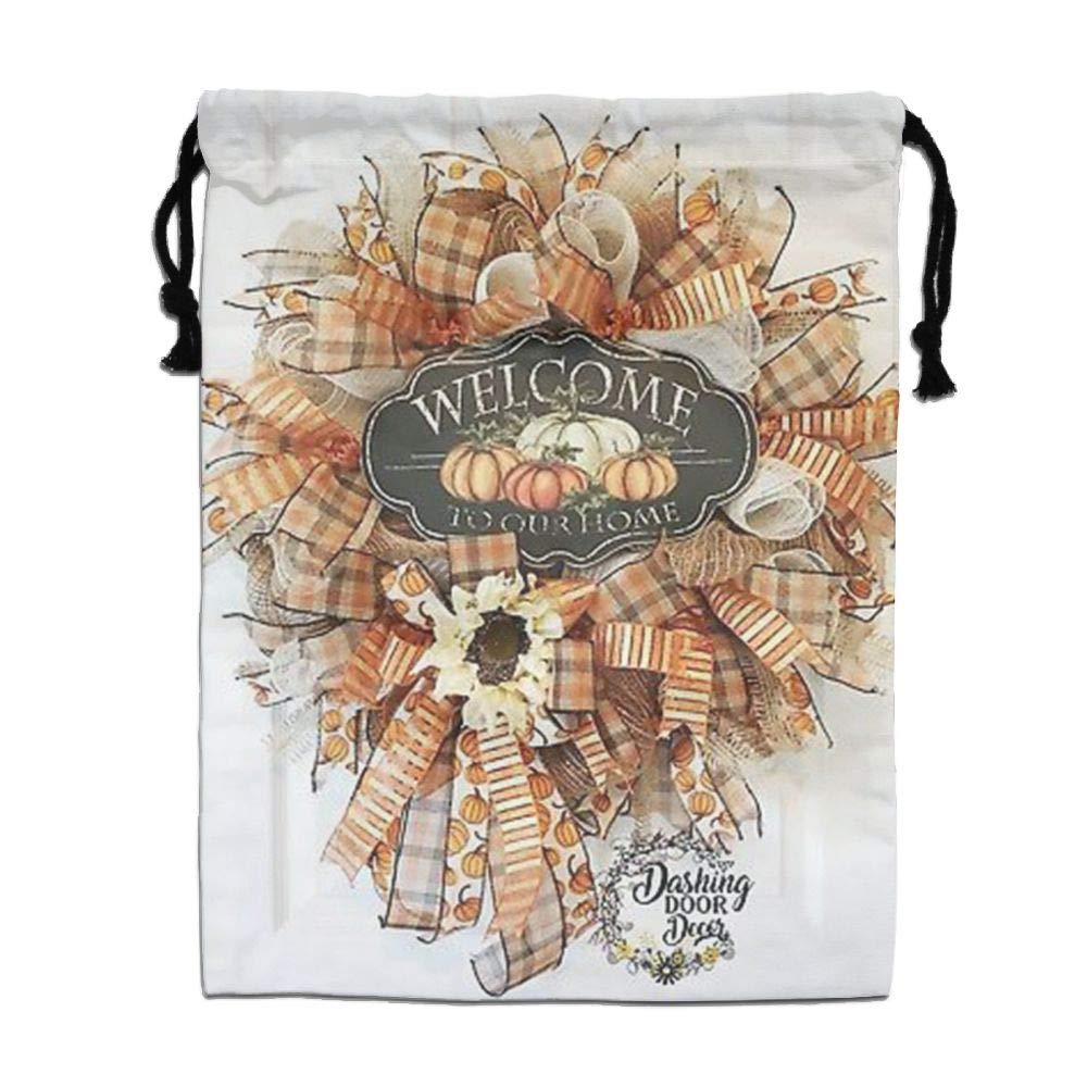 Custom Drawstring Bag,Autumn-Fall-Pumpkins Holiday/Party/Christmas Tote Bag 15.7(H)x 11.8(W) in