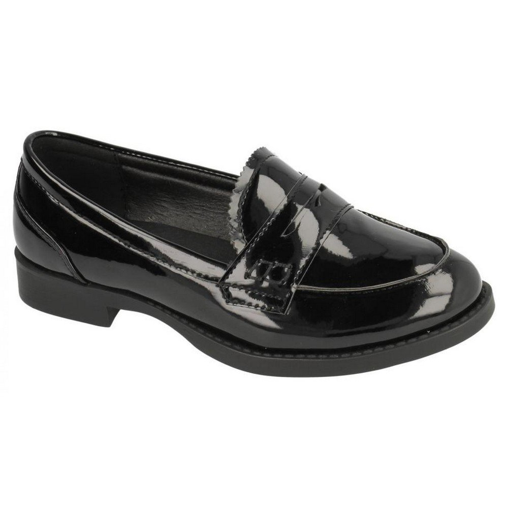 Spot On Childrens Girls Smart Loafer Style Shoes (US Size 13 Junior) (Black Synthetic Patent)