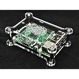 Vullers Tech - Alloggiamento per Raspberry Pi B+, regolabile in altezza e impilabile, in vetro acrilico trasparente, con 4 bulloni distanziali gratis G-RP-BPC Vullers Tech®