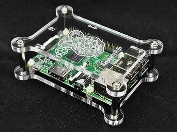 Carcasa transparente acrílica Raspberry Pi B+ de alto valor apilable 4 pernos de distancia incluidos gratis G-RP-BPC Vullers Tech®