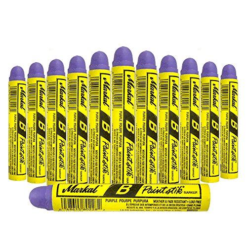 (12 Pc Box Purple Markal B Paintstiks Crayon Marks Water Oil Dirt Extreme Temp Paint Stick Chalk for Auto Tire Construction Fabric Lumber AutoAndArt)