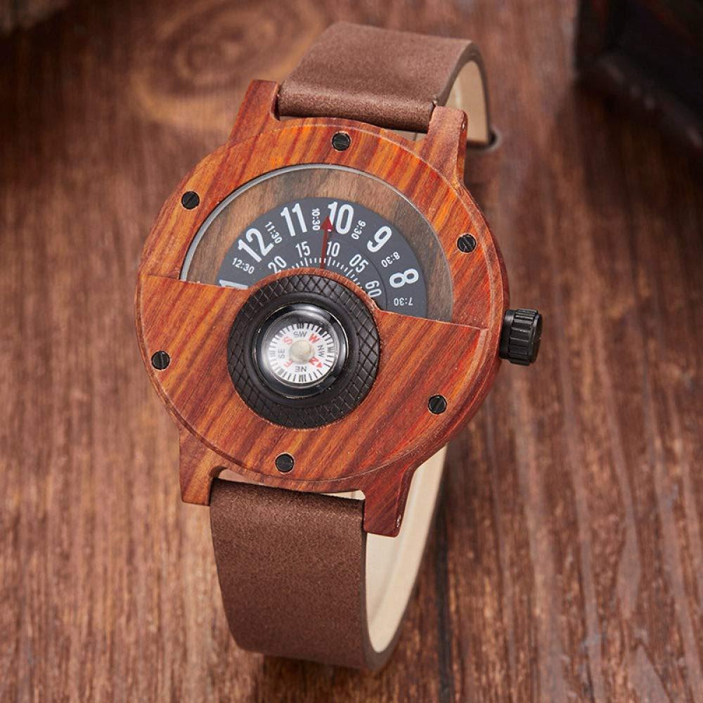 STEDMNY Träklocka mode träklocka män kvinnor unik kompass halvurtavla naturligt trä kvarts armbandsur kreativ design träklocka man Rose Wood