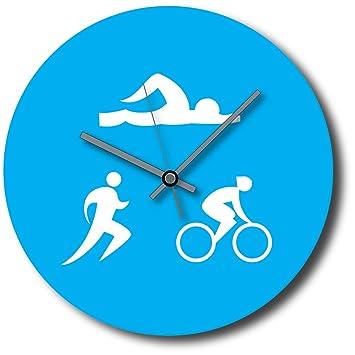 Para triatlón/triatleta reloj de pared con diseño de barco - de natación/bicicleta/de la/Fun - 30 cm x 30 cm: Amazon.es: Hogar