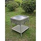 International Caravan 3196-AM-IC Furniture Piece Wicker Glass Top Side Table