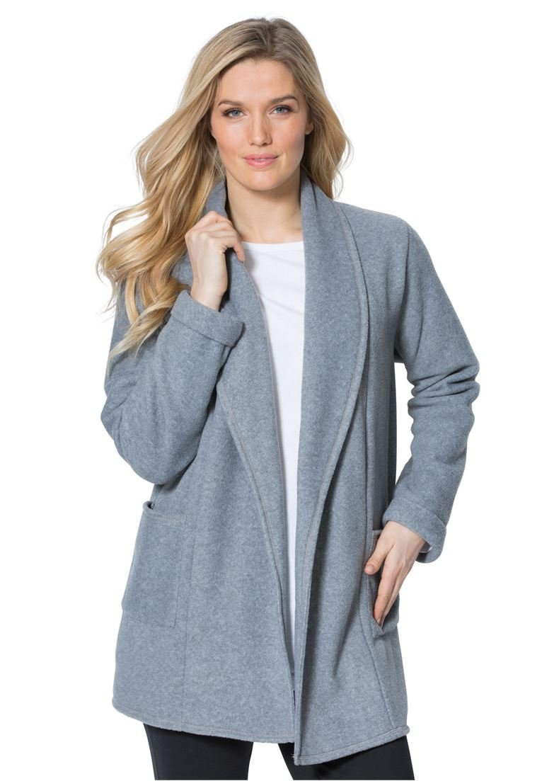 Women's Plus Size Microfleece Cardigan Medium Heather Grey,1X