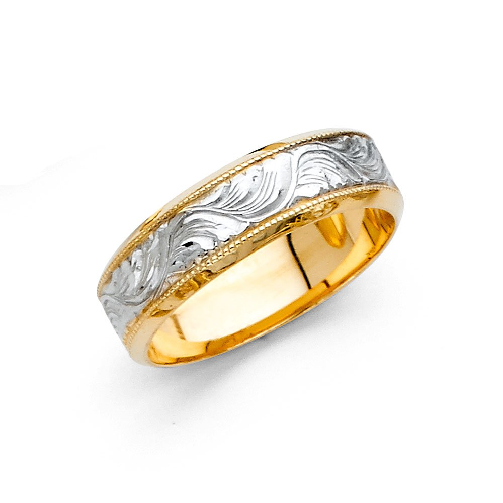 Wedding Band Solid 14k Yellow White Gold Milgrain Ring Diamond Cut Two Tone Style Men Women 5 mm Size 7
