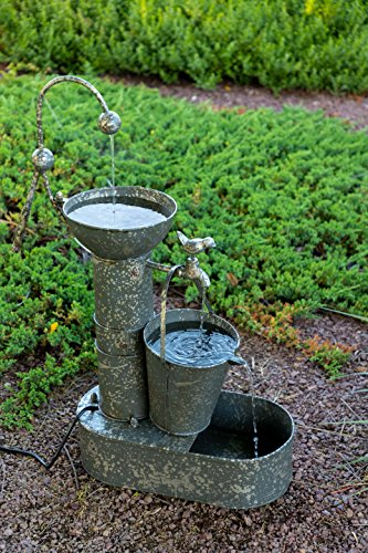 Alpine Corporation 3-Tier Rustic Tin Fountain - Old-Fashioned Outdoor Waterfall for Patio, Deck, Porch - Yard Art - Fashioned Fountain Old Pump