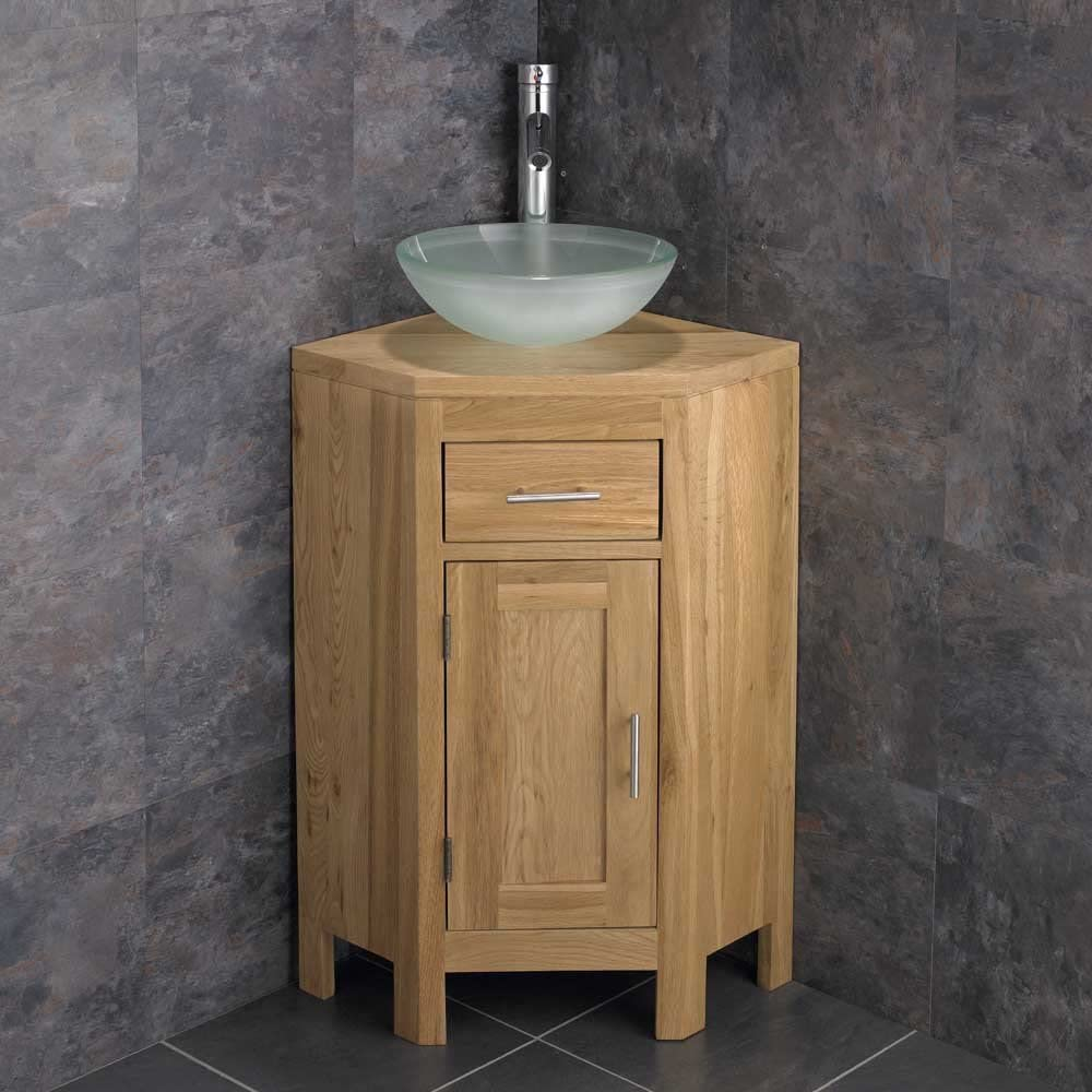 Clickbasin Solid Oak Corner Vanity Unit From Our Alta Range In Natural Oak With Circular Frosted Glass Countertop Basin And Chrome Tap And Waste Set Amazon Co Uk Kitchen Home