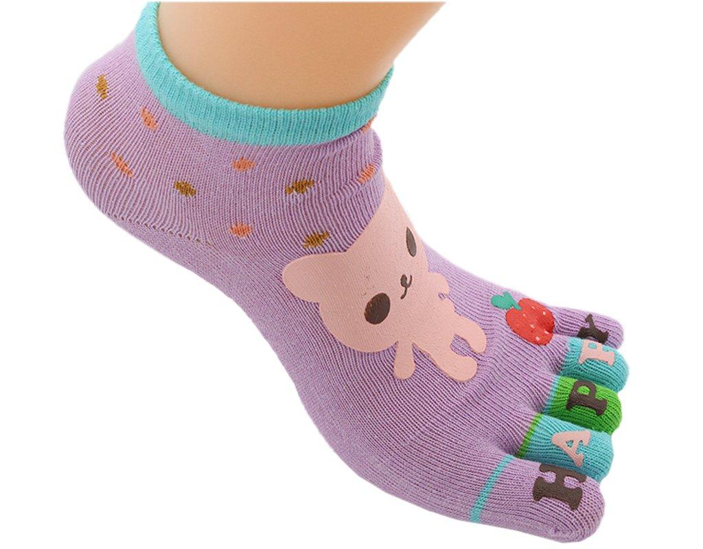 BONAMART ® 1 3 5 Pack Kids Split 5 Toes Crew Toe Socks 5-8 Years Old