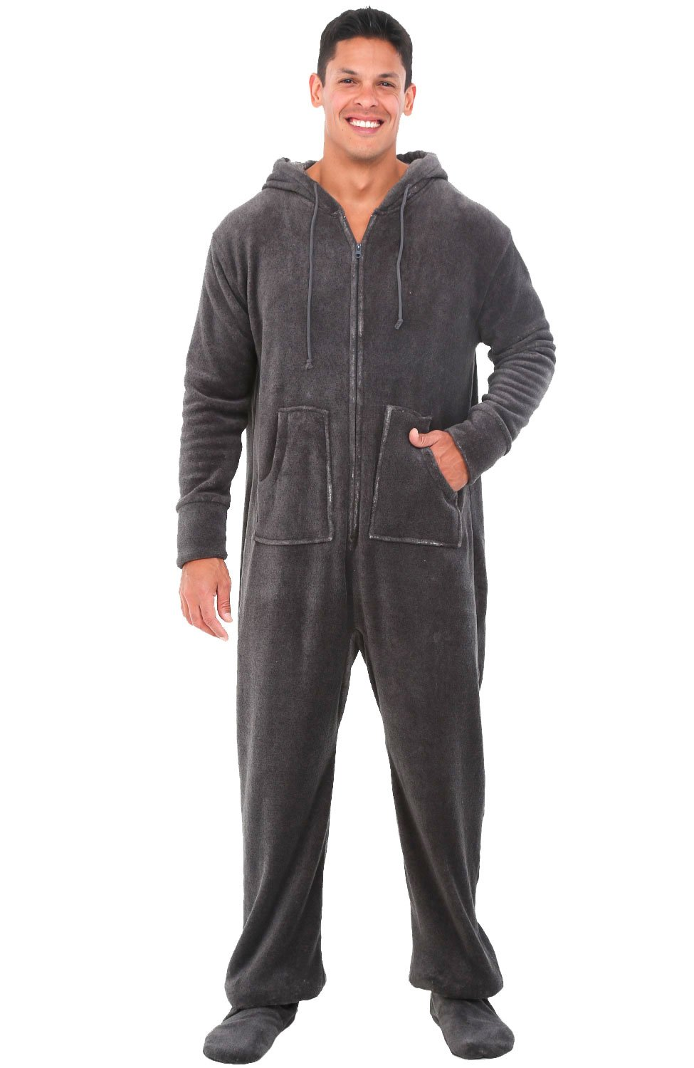 Alexander Del Rossa Mens Fleece Onesie, Hooded Footed Jumpsuit Pajamas, XL Vintage Heathered Grey (A0320ECLXL)