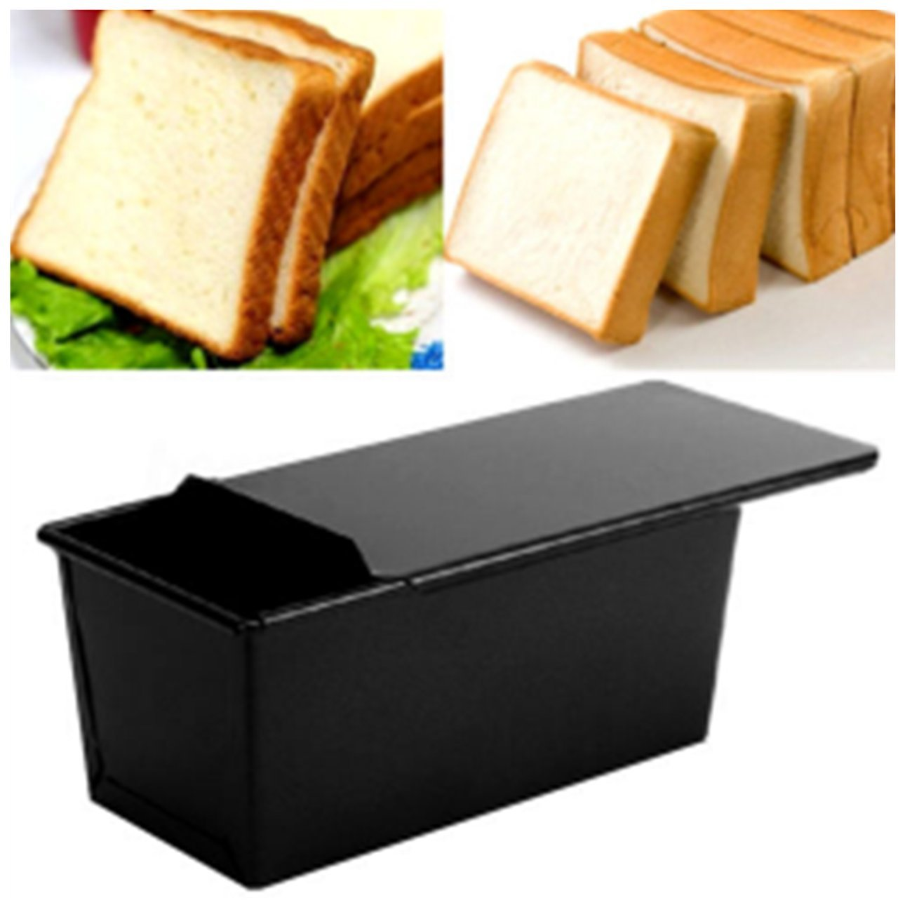 Ballylelly Non-Stick Coating Rectangle Bread Loaf Pastry Cake Tin Box Designed with Sliding Lid Baking Pan Bakeware Kitchen Tool