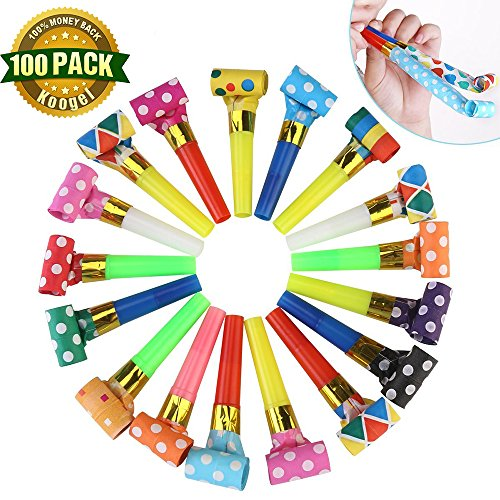 Koogel Party Whistles,100 Pcs Musical Blowouts, Birthday Party Favors, New Years Party Noisemakers ,Party Blowouts Whistles, Party Blowouts, Fun Party Favors(Multicolor) (Musical Birthday Party)