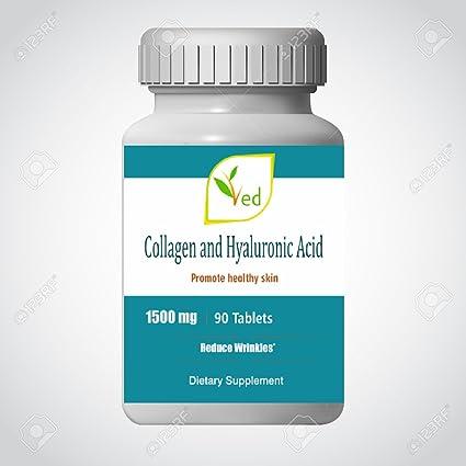 Suplemento ultra puro para el cuidado de la piel con ácido colágeno y ácido hialurónico - 1500 ...