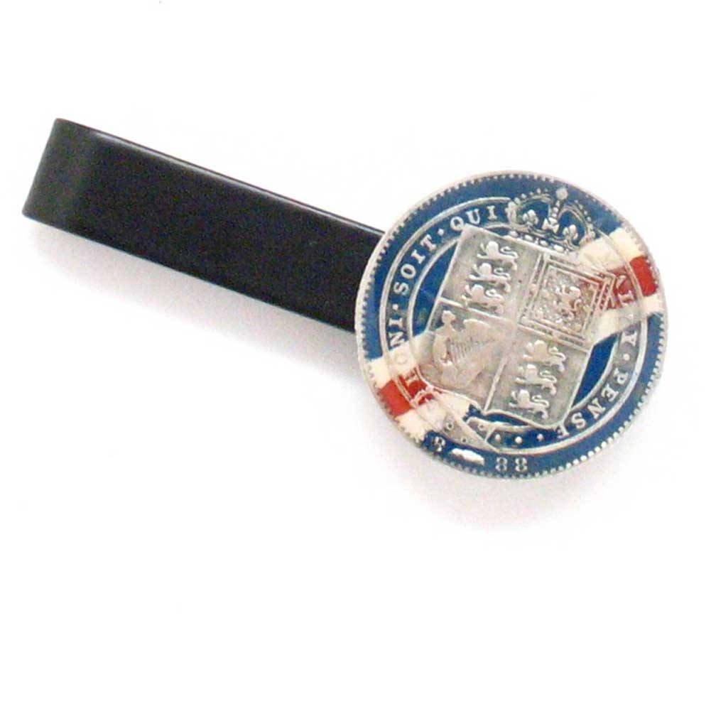 Silver English Shilling Tie Bar Clip Tiebar Tieclip Coin Queen Victoria Antique Vintage London Britain Buckingham Palace