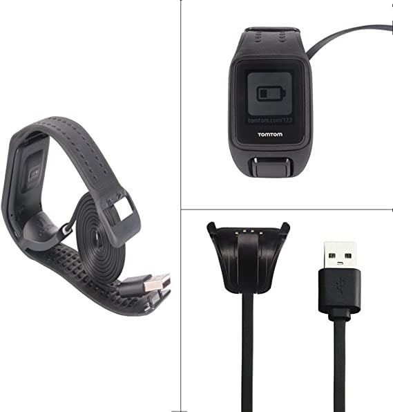 Tomtom Spark Cardio Charger Cable, Replace USB Charging Cable Clip Charger Cradle Charging Dock for Tomtom Spark Cardio/Tomtom Spark Cardio + ...