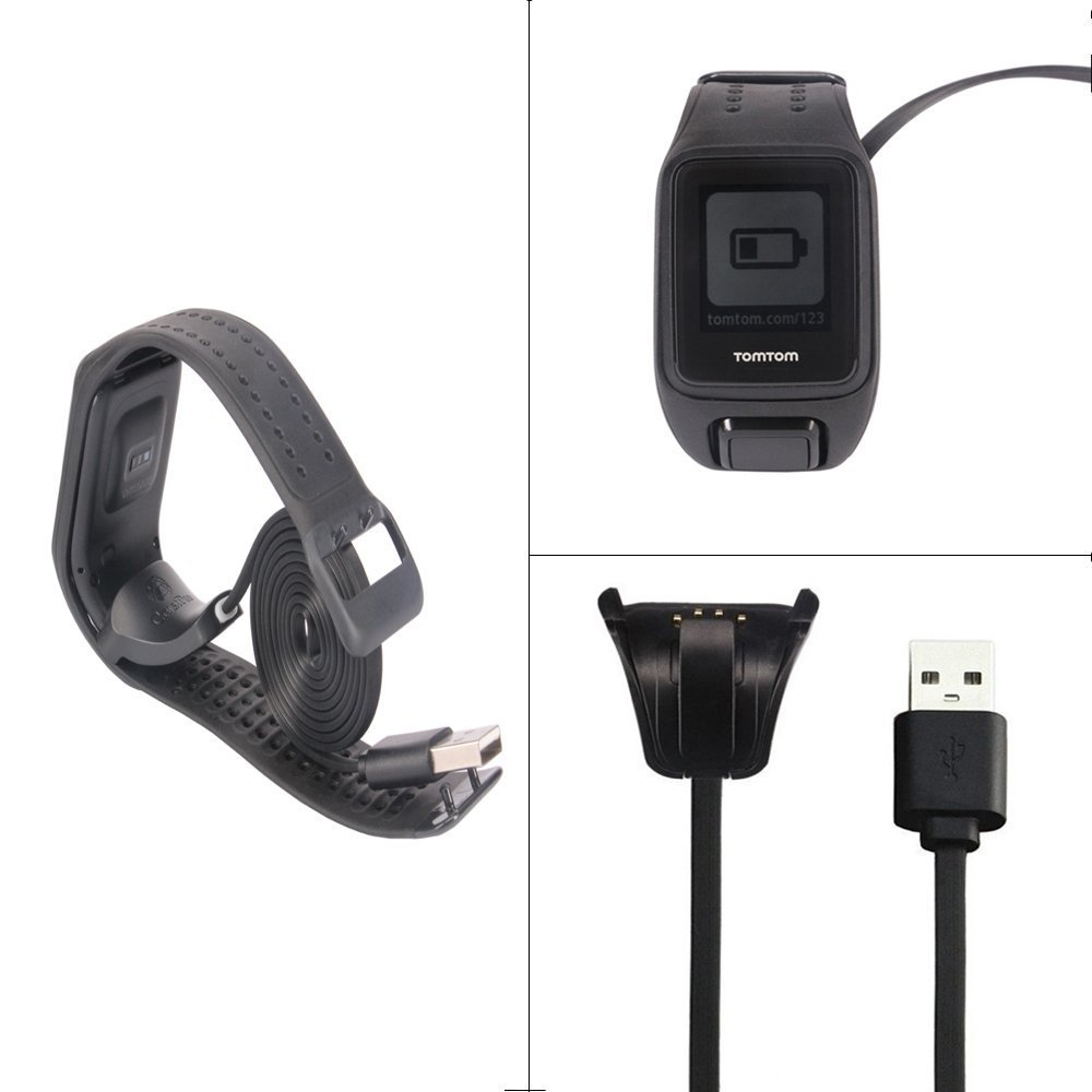 TomTom Spark Cardio Charger Cable , Replace USB Charging Cable Clip Charger Cradle Charging Dock for TomTom Spark Cardio / TomTom Spark Cardio + Music / Spark 3 Cardio GPS Fitness Watch
